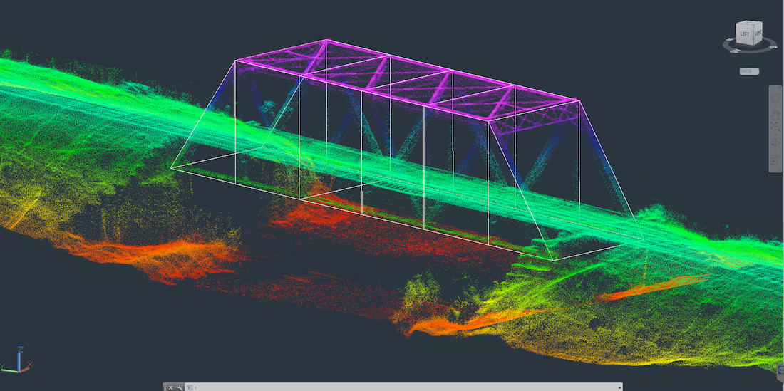 Aerial LiDAR scan of rail road bridge by AirShark UAS Services